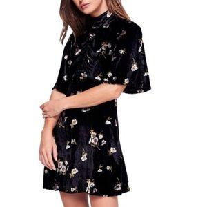 New! Free people Black Velvet Floral Kimono Dress